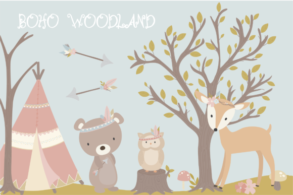 Print on Demand: Boho Woodland Clipart Graphic Illustrations By poppymoondesign