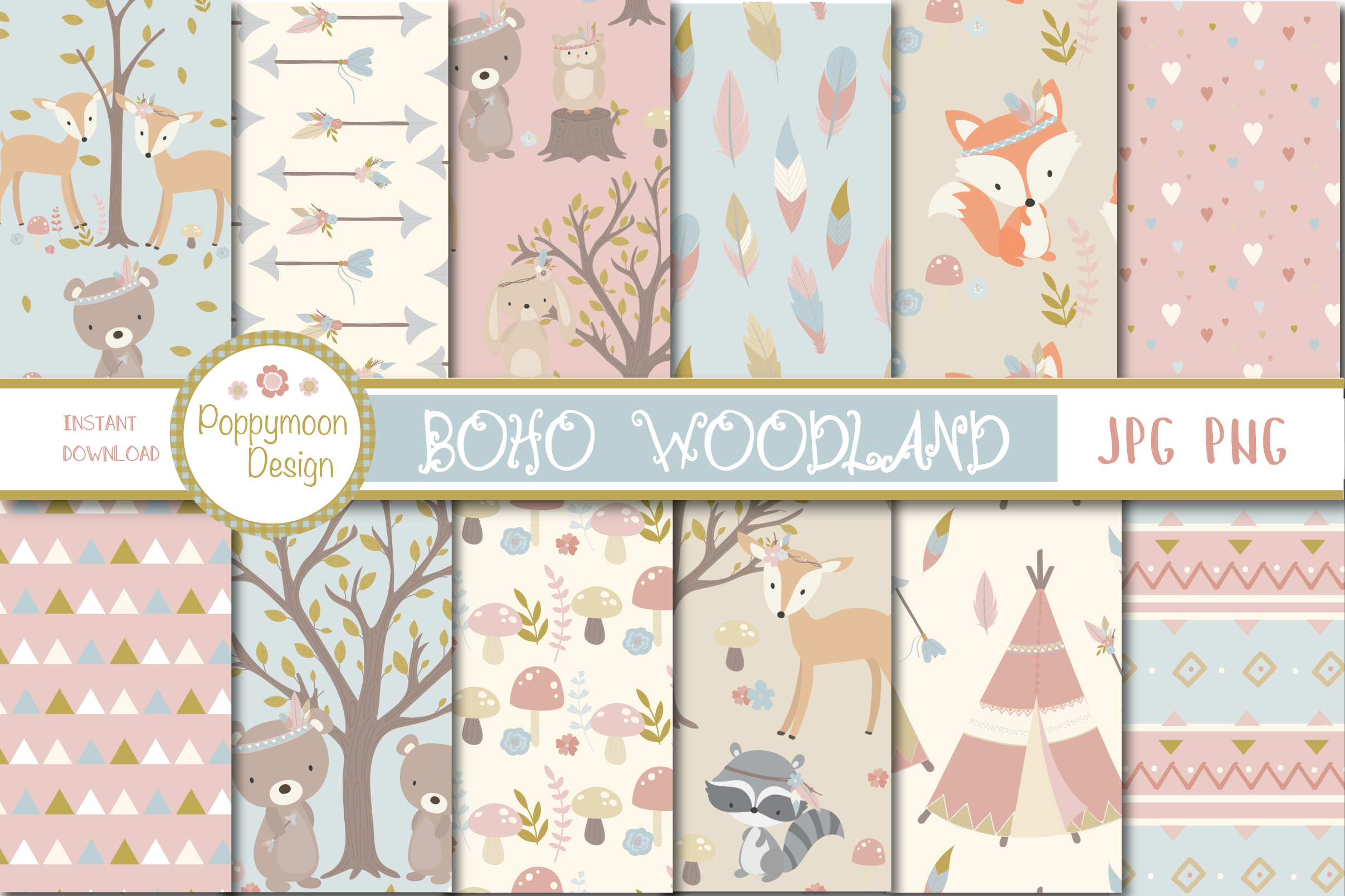 Download Free Boho Woodland Paper Graphic By Poppymoondesign Creative Fabrica for Cricut Explore, Silhouette and other cutting machines.