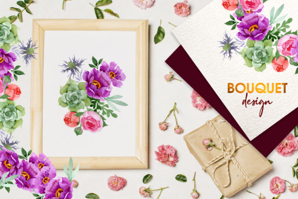 Print on Demand: Bouquet with Burgundy Peonies Watercolor Graphic Illustrations By MyStocks - Image 2