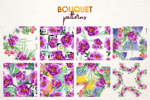 Print on Demand: Bouquet with Burgundy Peonies Watercolor Graphic Illustrations By MyStocks - Image 3