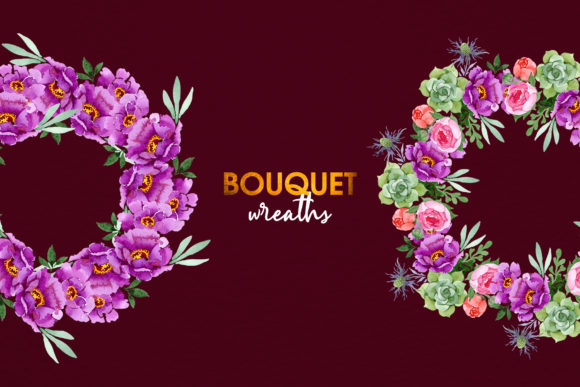 Print on Demand: Bouquet with Burgundy Peonies Watercolor Graphic Illustrations By MyStocks - Image 4