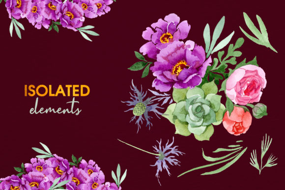 Print on Demand: Bouquet with Burgundy Peonies Watercolor Graphic Illustrations By MyStocks - Image 8