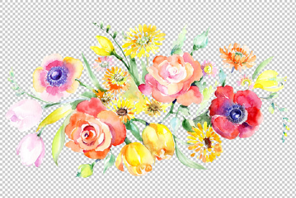 Download Free Bouquet With Roses Tulips And Poppies Graphic By Mystocks for Cricut Explore, Silhouette and other cutting machines.