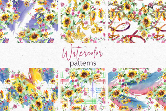Print on Demand: Bouquets with Sunflowers Watercolor Png Graphic Illustrations By MyStocks - Image 3
