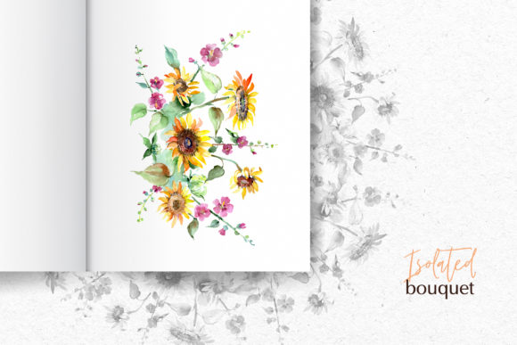 Print on Demand: Bouquets with Sunflowers Watercolor Png Graphic Illustrations By MyStocks - Image 8