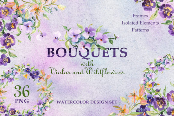 Print on Demand: Bouquets with Violas and Wildflowers Graphic Illustrations By MyStocks