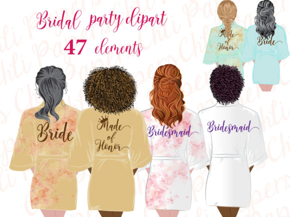 Bridesmaid Robe Clipart,Bride Clipart Graphic Crafts By ChiliPapers