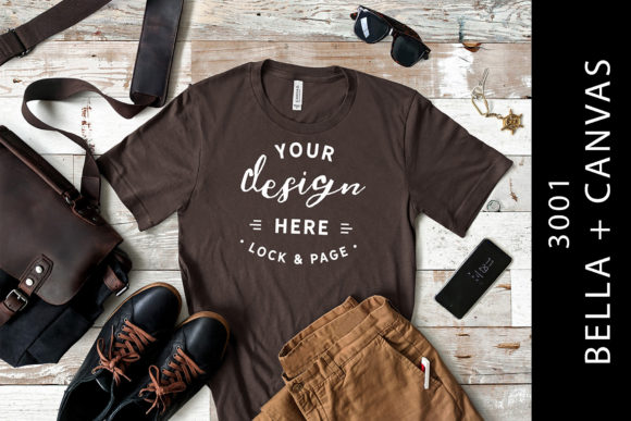 Download Free Brown Bella Canvas 3001 Men S Tee Mockup Graphic By Lockandpage for Cricut Explore, Silhouette and other cutting machines.