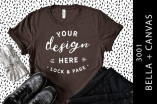 Brown Bella Canvas 3001 T Shirt Mockup Graphic Product Mockups By lockandpage
