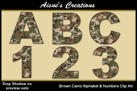 Download Free Brown Camo Alphabet Numbers Graphic By Aisne Creative Fabrica for Cricut Explore, Silhouette and other cutting machines.