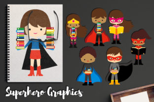 Brunette Superhero with Books Graphic By Revidevi