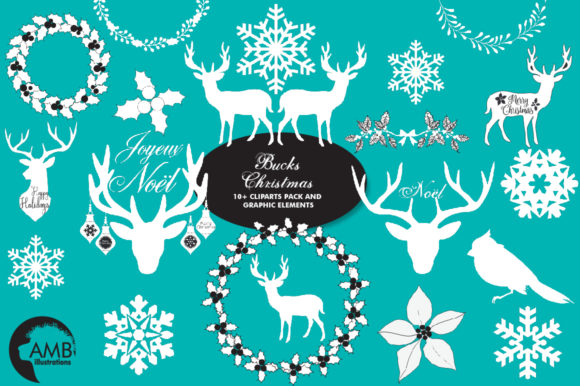 Buck's Christmas Clipart AMB-2105 Graphic Illustrations By AMBillustrations