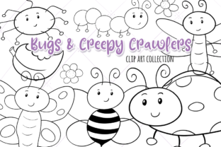 Print on Demand: Bugs and Creepy Crawlers Black and White Graphic Illustrations By Keepinitkawaiidesign