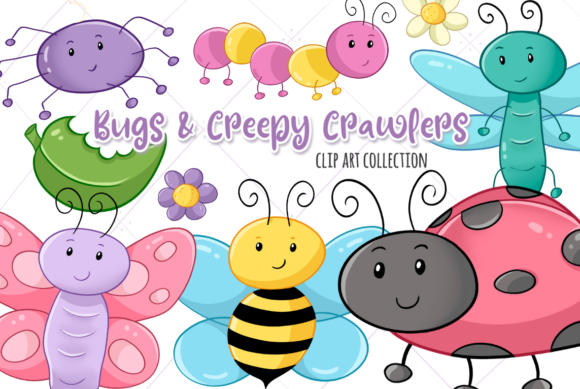 Print on Demand: Bugs and Creepy Crawlers Graphic Illustrations By Keepinitkawaiidesign