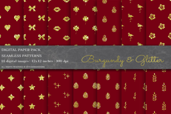 Download Free Burgundy Glitter Digital Papers Graphic By Bonadesigns for Cricut Explore, Silhouette and other cutting machines.