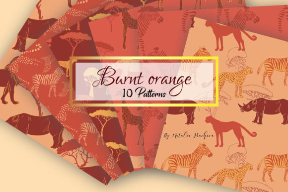 Print on Demand: Burnt Orange Digital Paper with Animal Graphic Patterns By natalia.piacheva