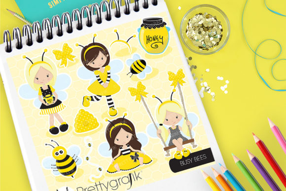 Print on Demand: Busy Bees Graphic Illustrations By Prettygrafik