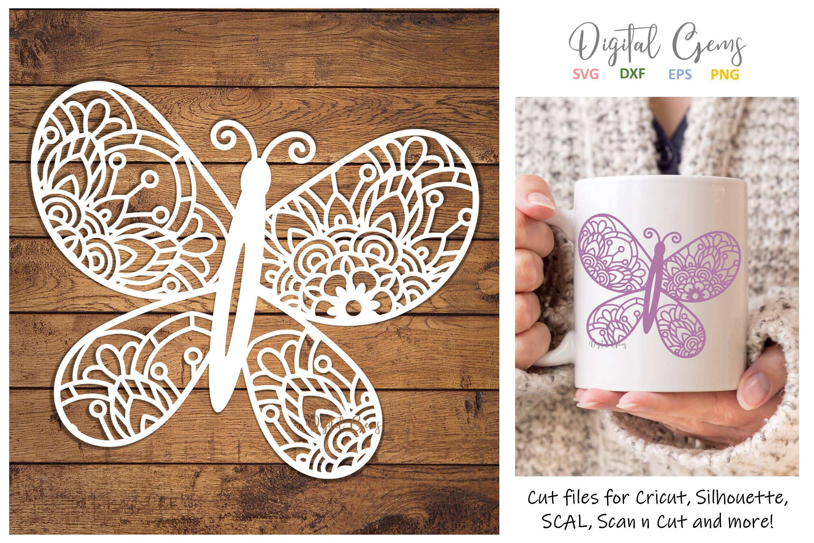 Download Free Butterfly Paper Cut Design Graphic By Digital Gems Creative for Cricut Explore, Silhouette and other cutting machines.
