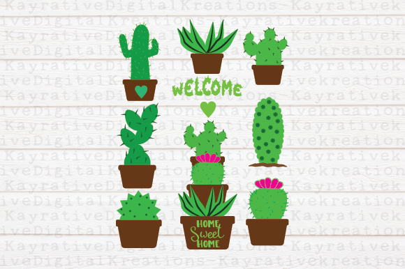 Download Free Cactus Succulents Graphic By Kayla Griffin Creative Fabrica for Cricut Explore, Silhouette and other cutting machines.