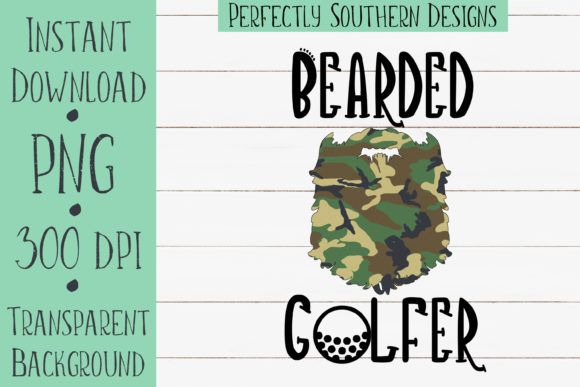 Print on Demand: Camo Bearded Golfer Graphic Crafts By PerfectlySouthernDesigns