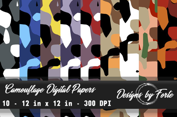 Print on Demand: Camouflage Digital Papers - Textures Graphic Textures By Heidi Vargas-Smith