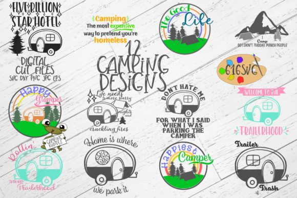 Camping Bundle with 12 Designs SVG Graphic Crafts By 616SVG