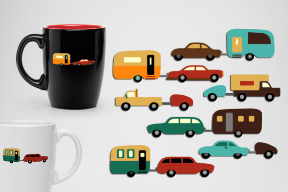 Print on Demand: Cars and Camper Caravans Graphic Illustrations By Revidevi