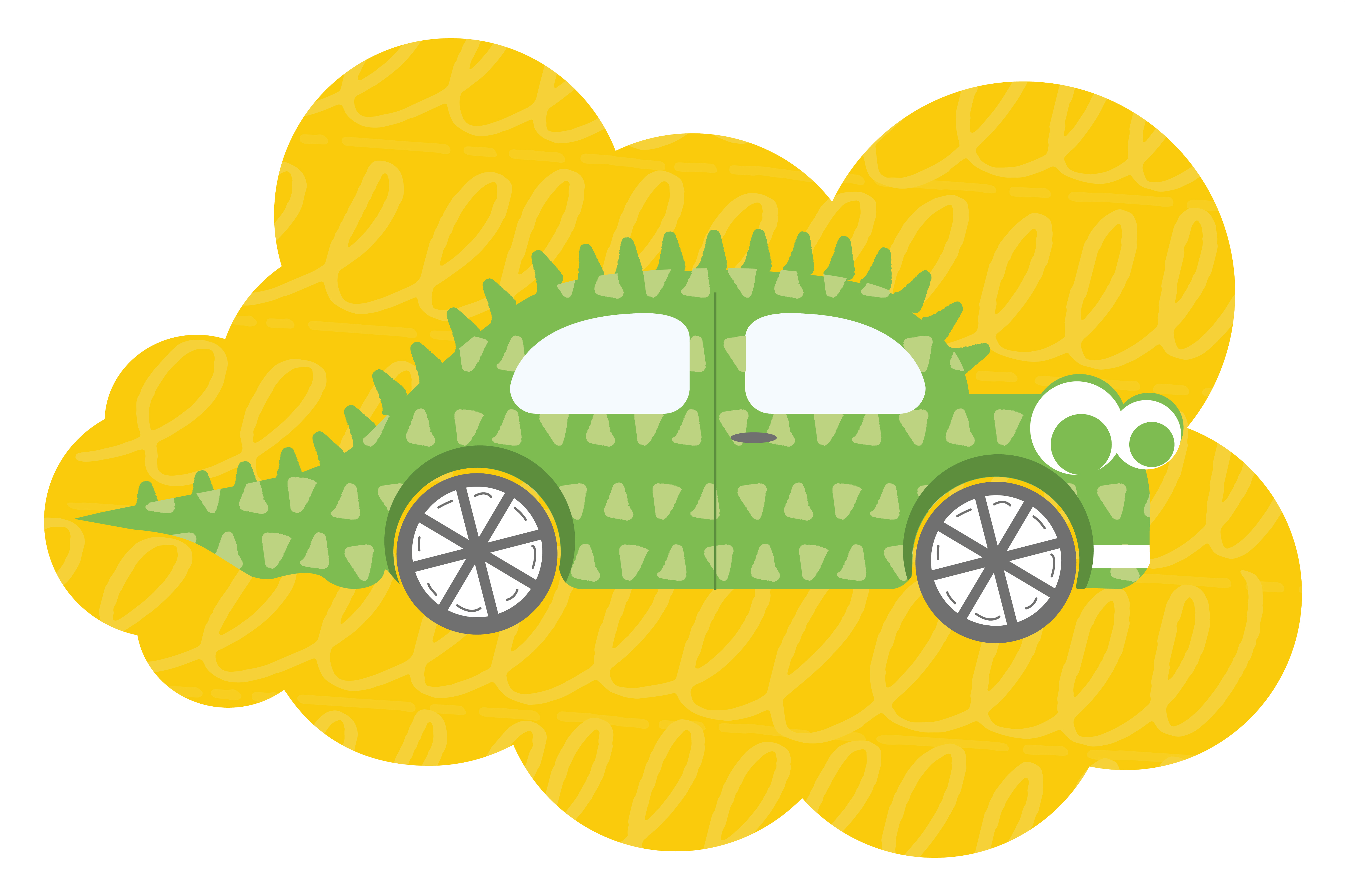 Download Free Cartoon Dino Car Vector Illustration Graphic By Woplolqow for Cricut Explore, Silhouette and other cutting machines.