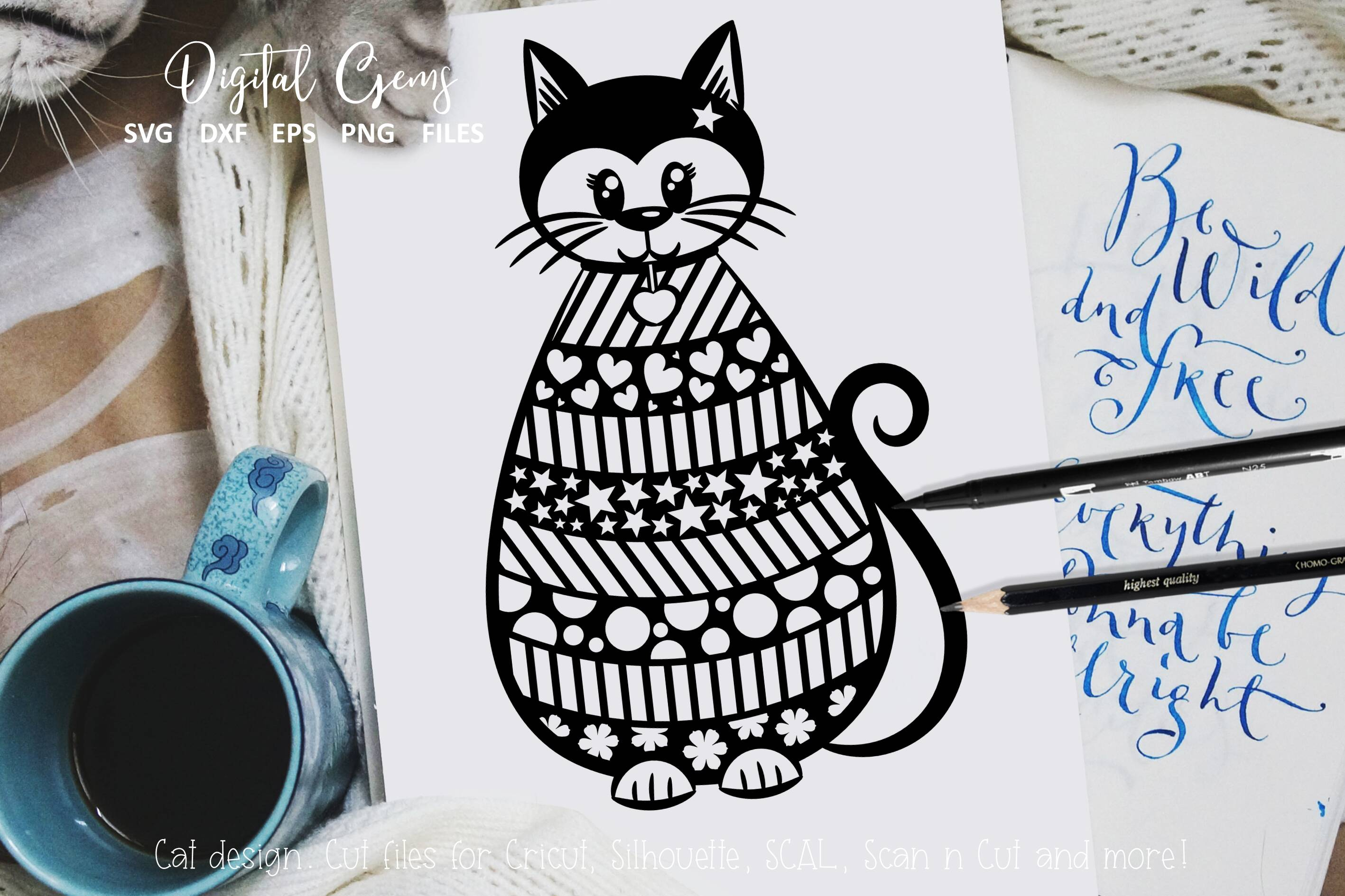 Download Free Cat Design Graphic By Digital Gems Creative Fabrica for Cricut Explore, Silhouette and other cutting machines.