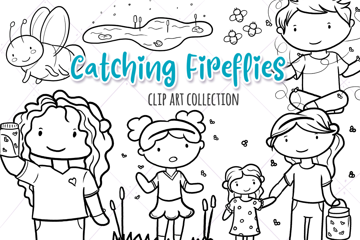 Download Free Catching Fireflies Black And White Graphic By for Cricut Explore, Silhouette and other cutting machines.
