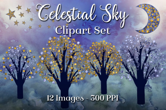Print on Demand: Celestial Sky - 12 Clipart Images Graphic Objects By SapphireXDesigns