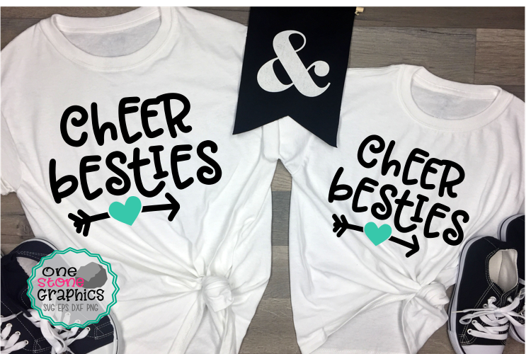 Download Free Cheer Besties Cheer Cheerleader Graphic By Onestonegraphics for Cricut Explore, Silhouette and other cutting machines.
