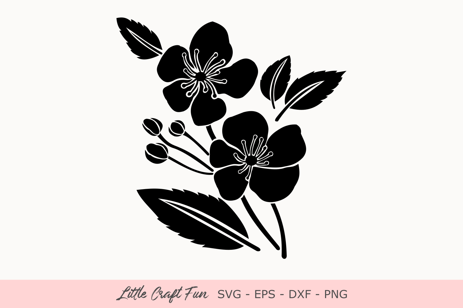 Download Free Cherry Flowers Silhouette Svg Grafico Por Little Craft Fun for Cricut Explore, Silhouette and other cutting machines.