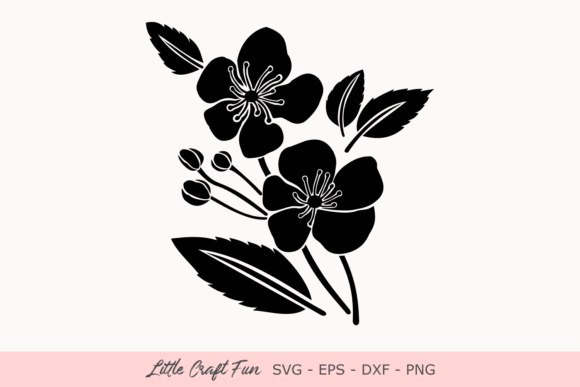 Download Free Cherry Flowers Silhouette Svg Graphic By Little Craft Fun for Cricut Explore, Silhouette and other cutting machines.