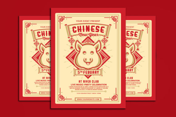 Chinese New Year 2019 Graphic Print Templates By muhamadiqbalhidayat