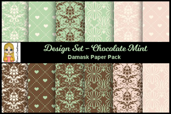 Chocolate Mint - Damask Paper Pack Graphic By Aisne