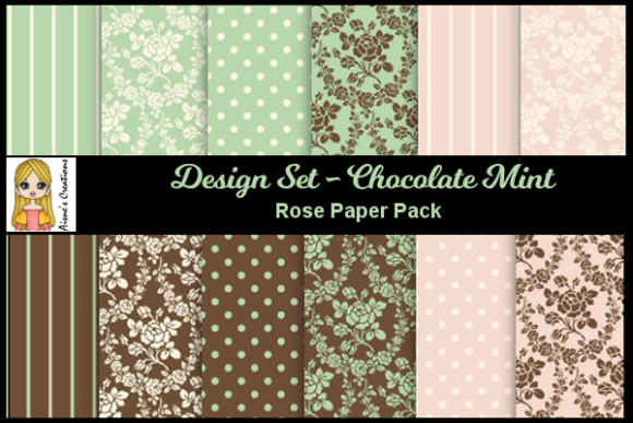 Chocolate Mint - Rose Paper Pack Graphic By Aisne
