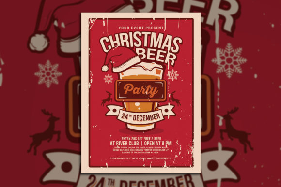 Christmas Beer Party Graphic Print Templates By muhamadiqbalhidayat