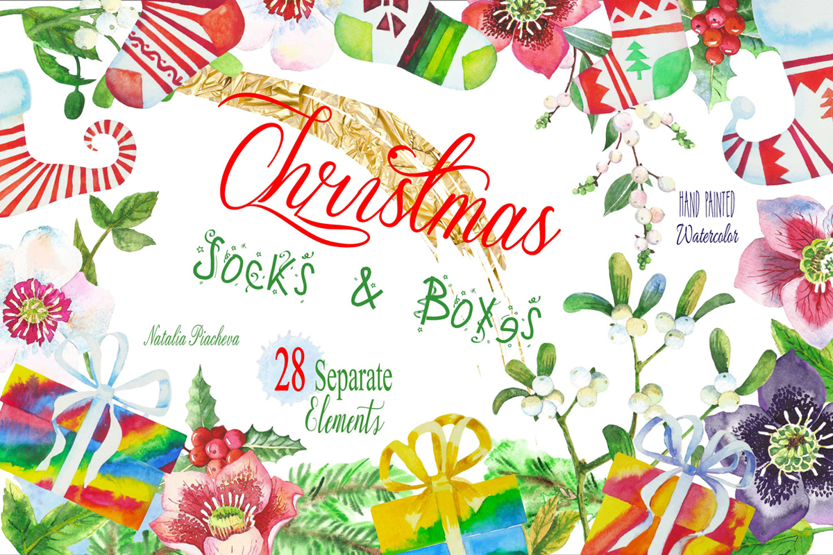 Download Free Christmas Socks Boxes Clipart Graphic By Natalia Piacheva for Cricut Explore, Silhouette and other cutting machines.