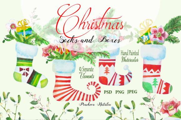 Print on Demand: Christmas Socks and Boxes Clipart Graphic Illustrations By natalia.piacheva