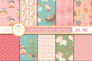Download Free Christmas Unicorn And Fairies Paper Graphic By Poppymoondesign for Cricut Explore, Silhouette and other cutting machines.