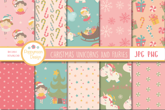 Print on Demand: Christmas Unicorn and Fairies Paper Graphic Patterns By poppymoondesign