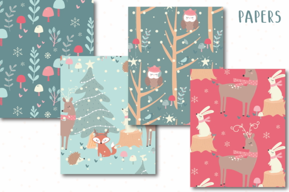 Download Free Christmas Woodland Papers Graphic By Poppymoondesign Creative Fabrica for Cricut Explore, Silhouette and other cutting machines.