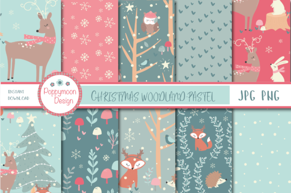 Print on Demand: Christmas Woodland  Papers Graphic Patterns By poppymoondesign