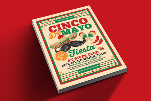 Download Free Cinco De Mayo Fiesta Flyer Graphic By Muhamadiqbalhidayat for Cricut Explore, Silhouette and other cutting machines.