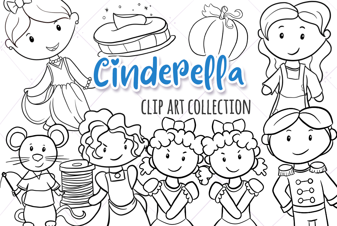 Download Free Cinderella Black And White Graphic By Keepinitkawaiidesign for Cricut Explore, Silhouette and other cutting machines.