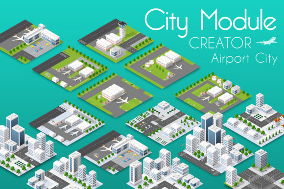 Download Free City Bundle Module Airport Graphic By Alexzel Creative Fabrica for Cricut Explore, Silhouette and other cutting machines.