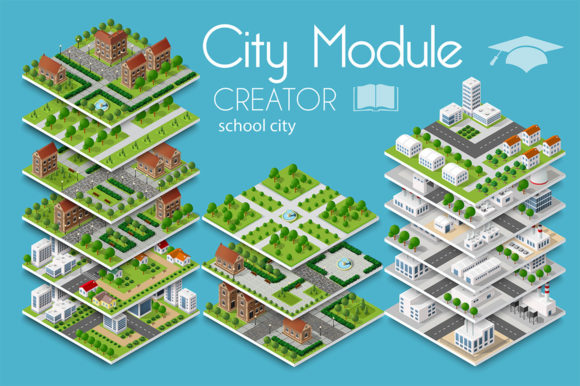 Download Free City Module Creator School City Graphic By Alexzel Creative SVG Cut Files