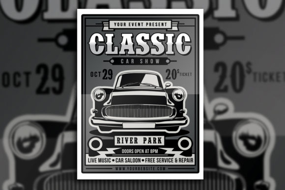 Download Free Classic Car Show Flyer Grafico Por Muhamadiqbalhidayat for Cricut Explore, Silhouette and other cutting machines.
