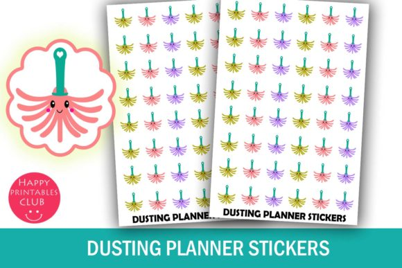 Print on Demand: Cleaning- Dusting Planner Stickers Graphic Crafts By Happy Printables Club